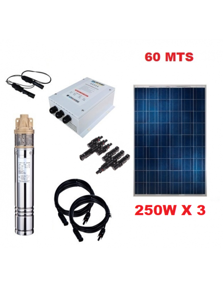 Kit Full Bomba Pozo Profundo 60 mts Energia Solar