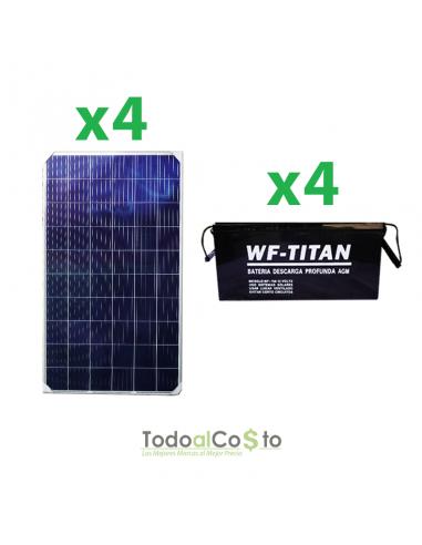 Pack 4 Baterías 150 ah + 4 Paneles...